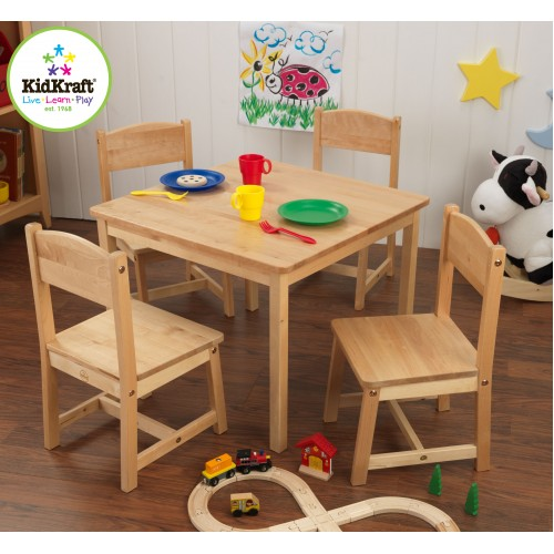Kidkraft Farmhouse Table & 4 Chairs in Natural Play Tables