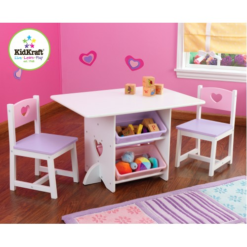 Kidkraft Heart Play Table with storage boxes Play Tables